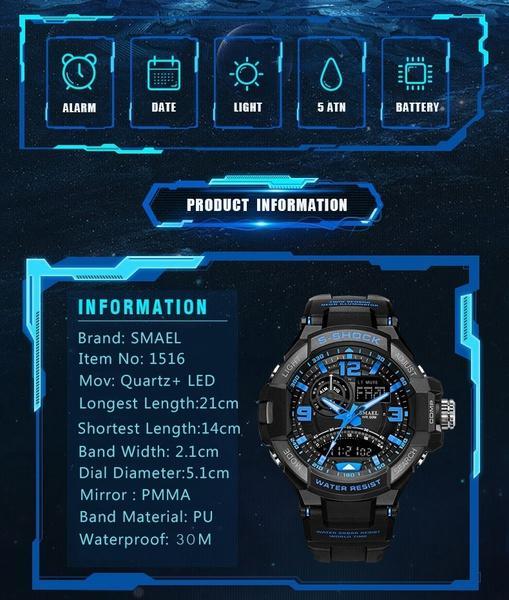 5115a22eb8b Compre Smael Marca Assista Militar Do Exército À Prova D  água Assista  Esporte Led Casual Relógio De Pulso Digital Mens Relógios Top Marca De Luxo  Ws1516 De ...