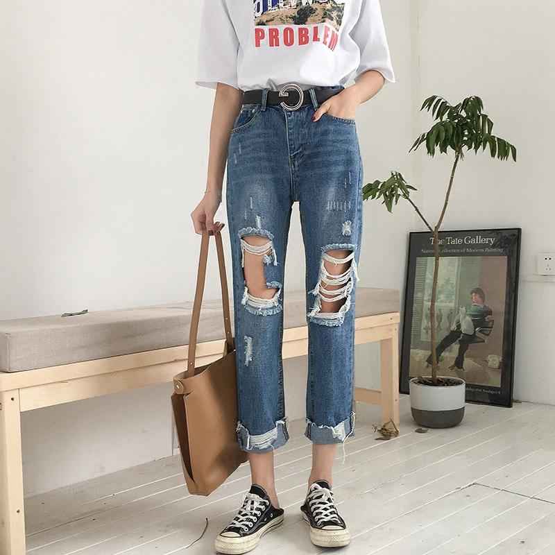Acheter Genou Gros Trou Jeans Femme Pourri Neuf Points Pantalon Mince  Taille Haute Lâche Coréen Bf2018 Tendance Tout Droit De  52.95 Du Honey333   a7c2446de27