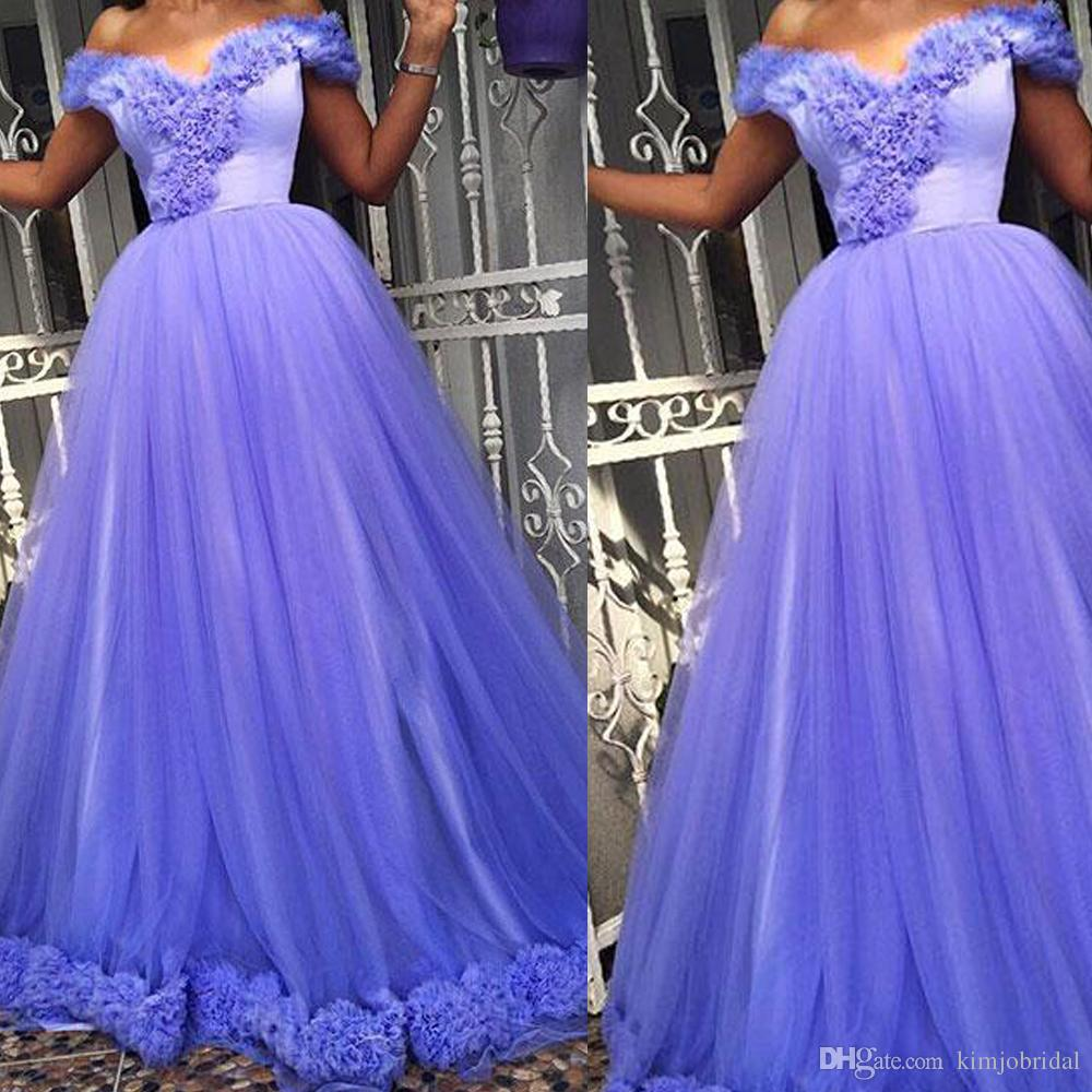 Purple Prom Dresses 2018 V Neck Ruffle Tiered Tulle Floor Length Arabic Long Formal Dresses Evening Dresses Gowns