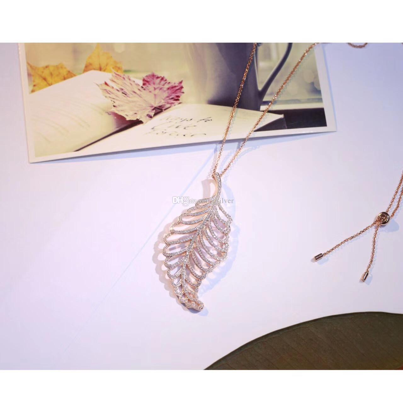 Simple European New Fashion Punk Gold Hollow Zircon Leaf Leaves Pendant Necklace Long Chain Charm Jewelry Women Sterling Silver Jewelry