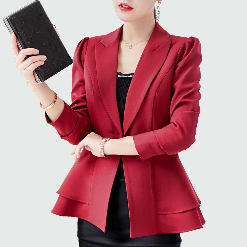 huge selection of b4a80 caf6c Elegante giacca blazer cappotto vino rosso donna Blazer 2018 autunno nuovo  ufficio donna giacca taglia morbida business slim L18101303
