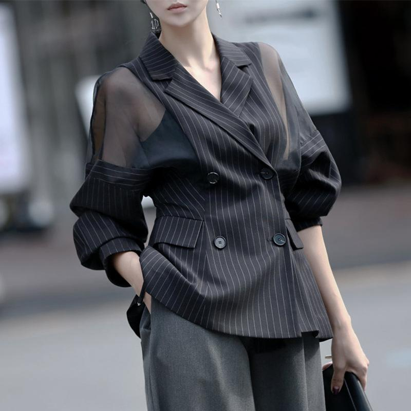 KoHuiJoo 3XL 4XL Women Plus Size Blazer Jackets Fashion Transparent Long Sleeve Loose Double Breasted Lady Office Work Suit Coat