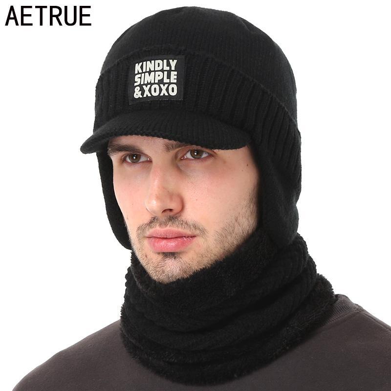 d917551eeee 2018 AETRUE Winter Hat Scarf Skullies Beanies For Men Knitted Hat Women  Mask Thick Balaclava Earflap Wool Bonnet Male Beanie Hats Cap From  Yiquanwater