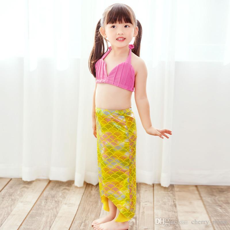 Girls Kids Mermaid Tail Swimmable Bikini Set Swimwear Swimsuit Swim Costume Children Set Bikini Set Mermaid Fins Swimsuit Swimming A8691