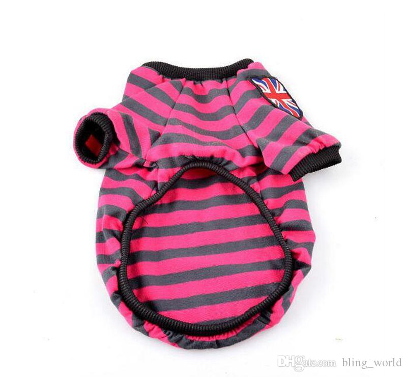 Spring Dog Shirt Striped Small Dog Clothes Puppy Apparel with UK flag Casual Pet Clothing Dog Supplies 4 designs YW505