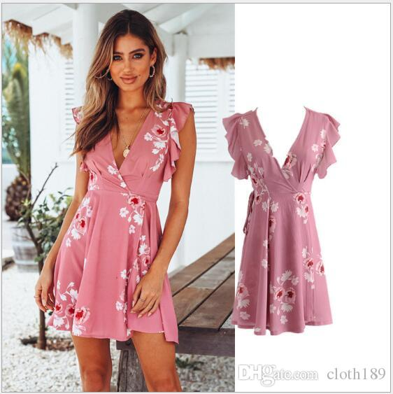 d50e2a1184c Lily Rosie Girl Floral Print Pink V Neck Sexy Wrap Women Dresses Ruffles  Short Sleeve Party Vestido 2018 Summer Beach Mini Dress Casual Dresses  Online with ...