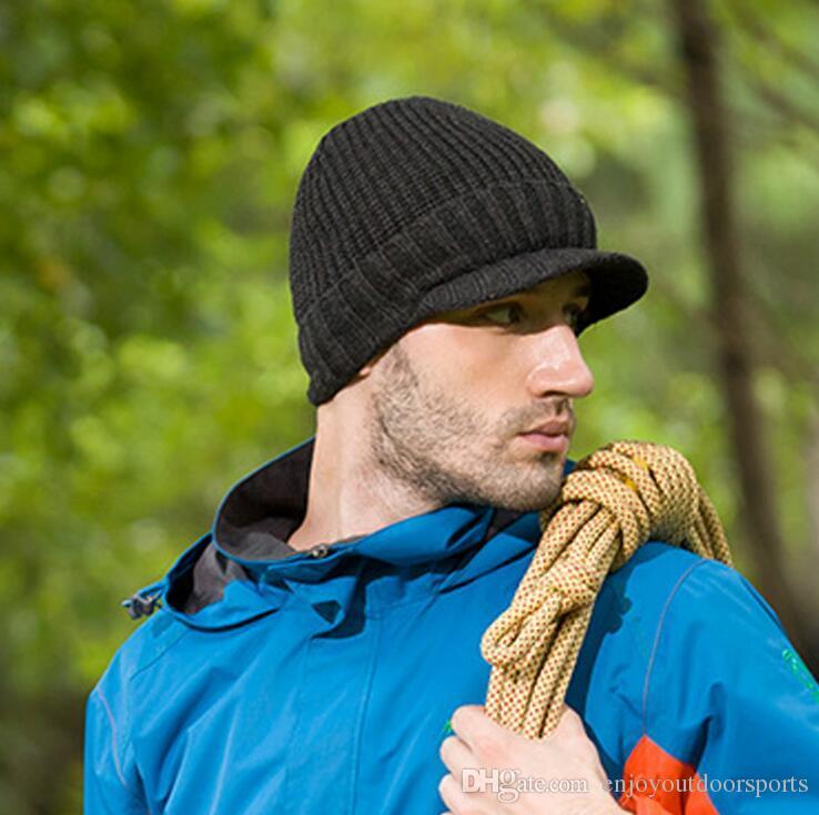 Men Sports Winter Hat Caps Knit Visor Beanie Fleece Lined Fashion Knitted  Black Ski Hats Thick Warm Hat Cap Bonnet Skullies Beanies QAZ53675 UK 2019  From ... 8bdab90d5a9