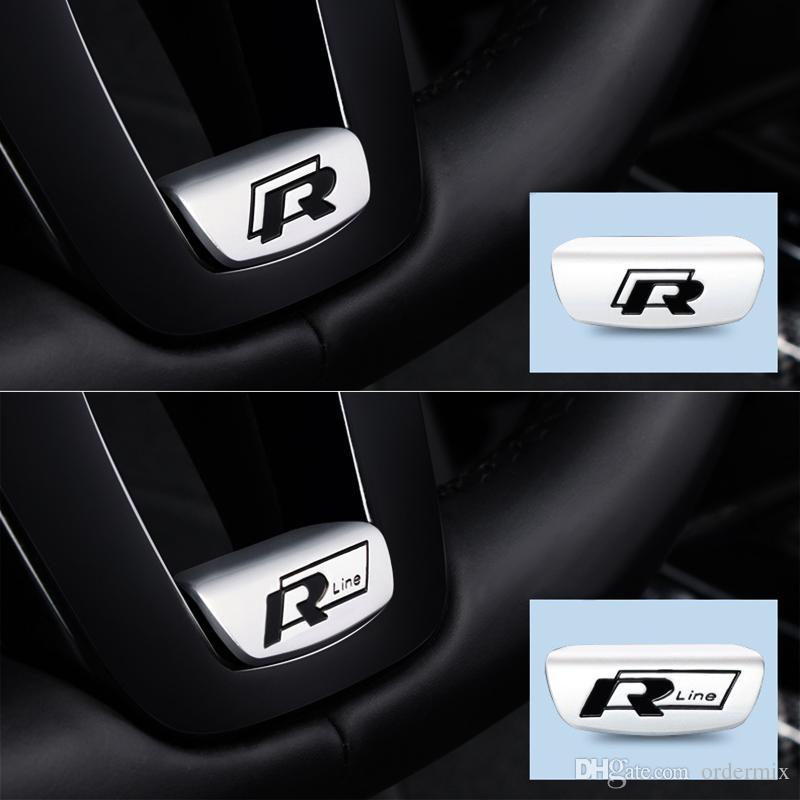 جديد 3d سيارة التصميم غطاء عجلة القيادة r rline شعار مجددة ملصق ل volkswagen vw b8 باسات جولف 7 mk7 جيتا cc تيغوان بولو