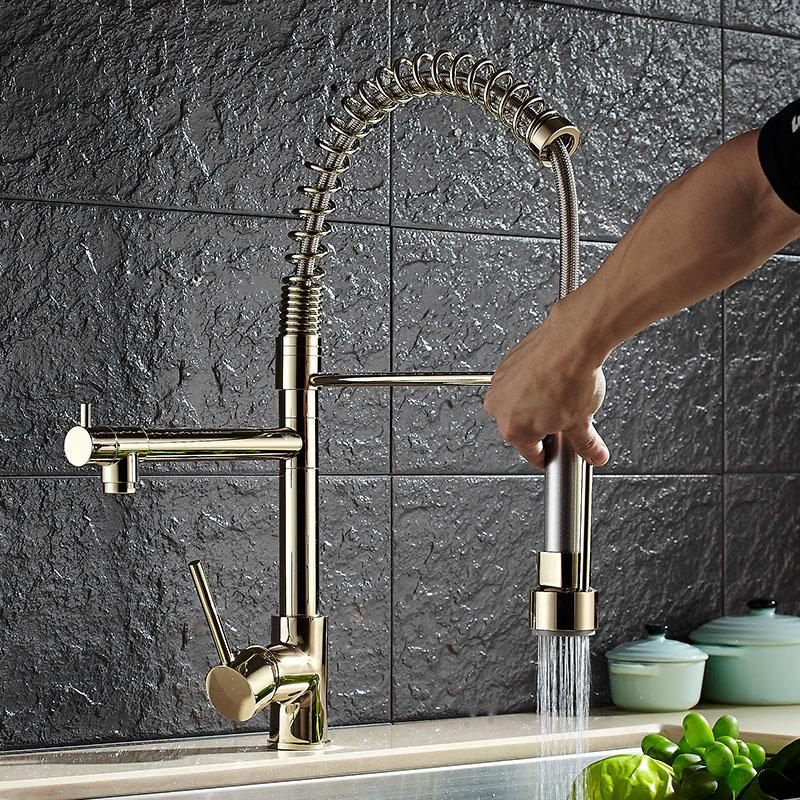 Free Shipping Brass gold Spring Pull Out Kitchen Faucet Sink Faucet luxury Hot & Cold direct drink Water Kitchen Mixer tap