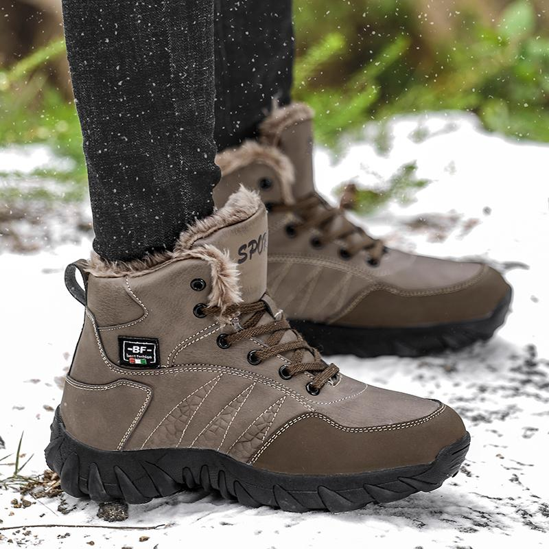 ef2efdb80b4 Mens Snow Boots Winter Hiking Boots Men Warm Fur Lined Warm Ankle Booties  Outdoor Ankle Boots Treekking Hiking Shoes