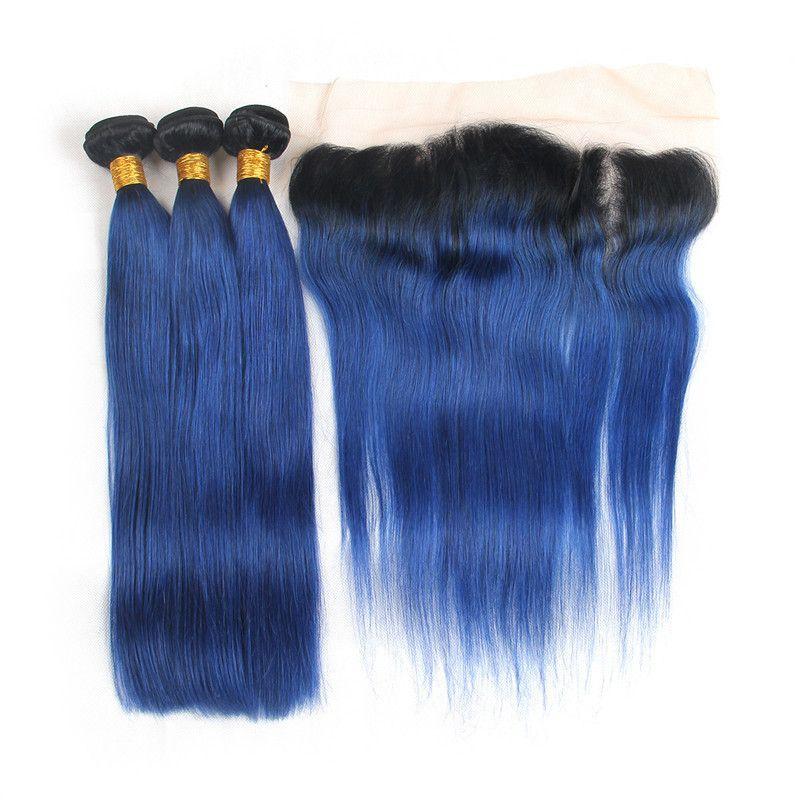 Fasci di capelli umani Ombre blu peruviano con chiusura frontale in pizzo 13x4 Tono di capelli bicolore # 1B / blu Ombre con frontali di pizzo pieno