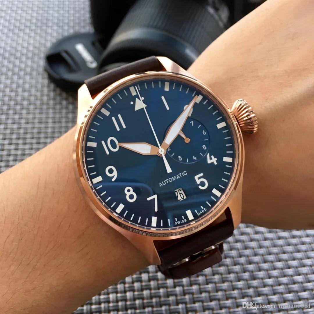 2017 Top Qualité De Luxe IW500901 Montre-Bracelet Grand Pilote Bleu Nuit / Cadran Noir Automatique 46 MM Hommes Montre De Montre