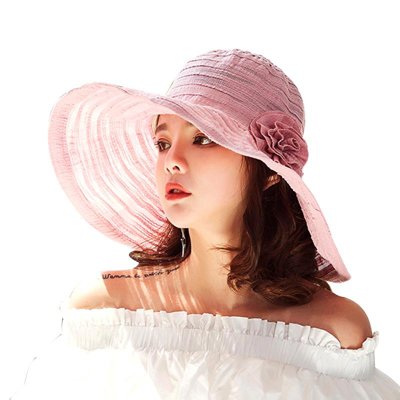 0ba1d3eba32 Striped Wide Brim Beach Hats Ladies Floppy Summer Hat Flower Fashion Sun Cap  For Women Summer Caps For Girls Vintage Hats Mens Caps From Melontwo
