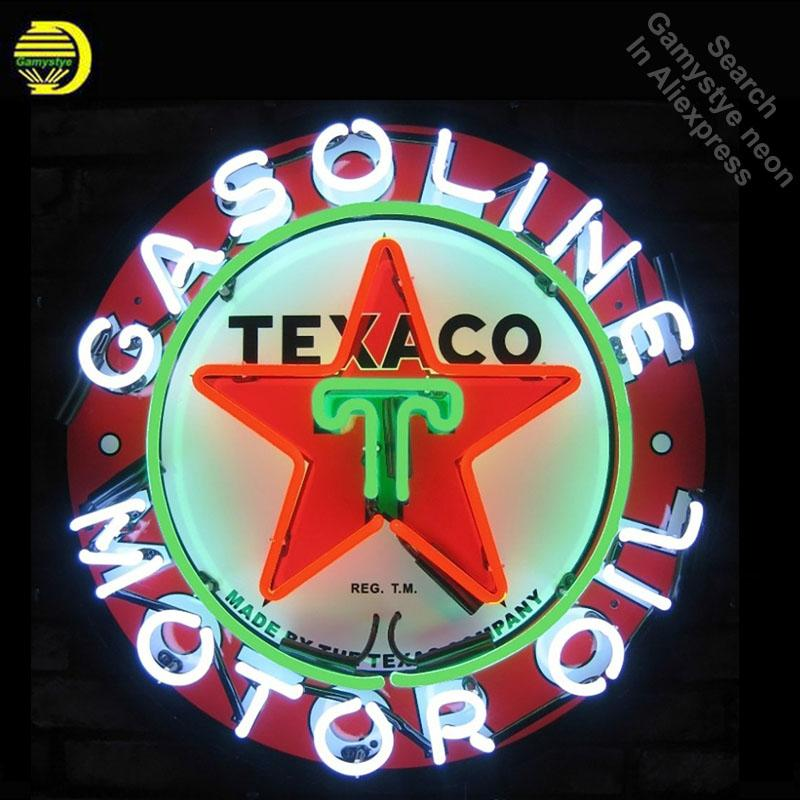 2019 Neon Sign For Texaco Gasoline Real Glass Oil Gas Beer