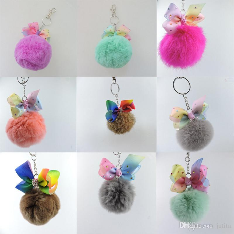 Colorful Pom Pom Ball Keychain Faux Fur Ball Rainbow Bowknot Key Ring Bags Pendants Women Jwewlry Party Favors