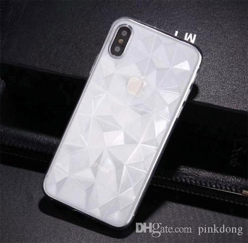 Ultra thin Diamond 3D Prismatic design snap on full protective case cover skin for iPhone 6 6Plus 7 8 Plus iPhone X