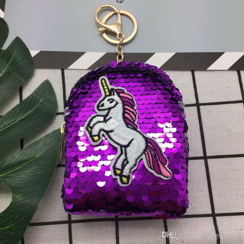 2018 Women Fashion unicorn Patten Sequin Coin Purses Kids Min Wallets Keychain