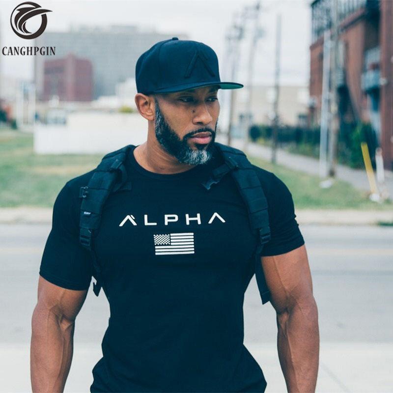 Acheter 2018 Été Top Sport Shirt Hommes Gym Fitness Tight Mens Workout T  Shirt Homme Manches Courtes Slim Fit Coton Chemises Muscle Brother De   45.42 Du ... d5c44561185