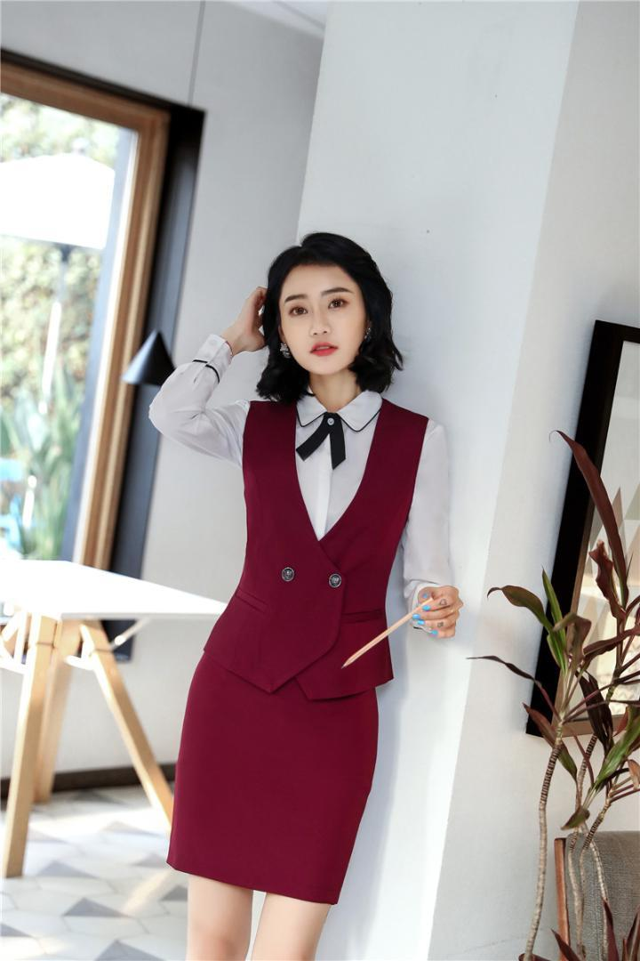 76a9fe4dfe 2019 Formal Uniform Styles 2018 Spring Summer Two Pieces With Vest And  Skirt For Ladies Office Work Outfits Blazers OL Sets Plus Size From  Philipppe