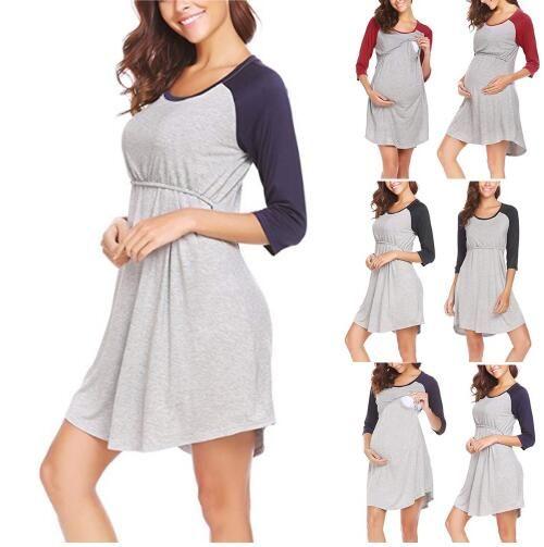 2856e453b00eb 2019 Autumn Breastfeeding Nursing Dress Half Sleeve Gradient Thick Maternity  Dress For Pregnant Women Breastfeeding Clothes From Sex Lady, $9.05 |  DHgate.