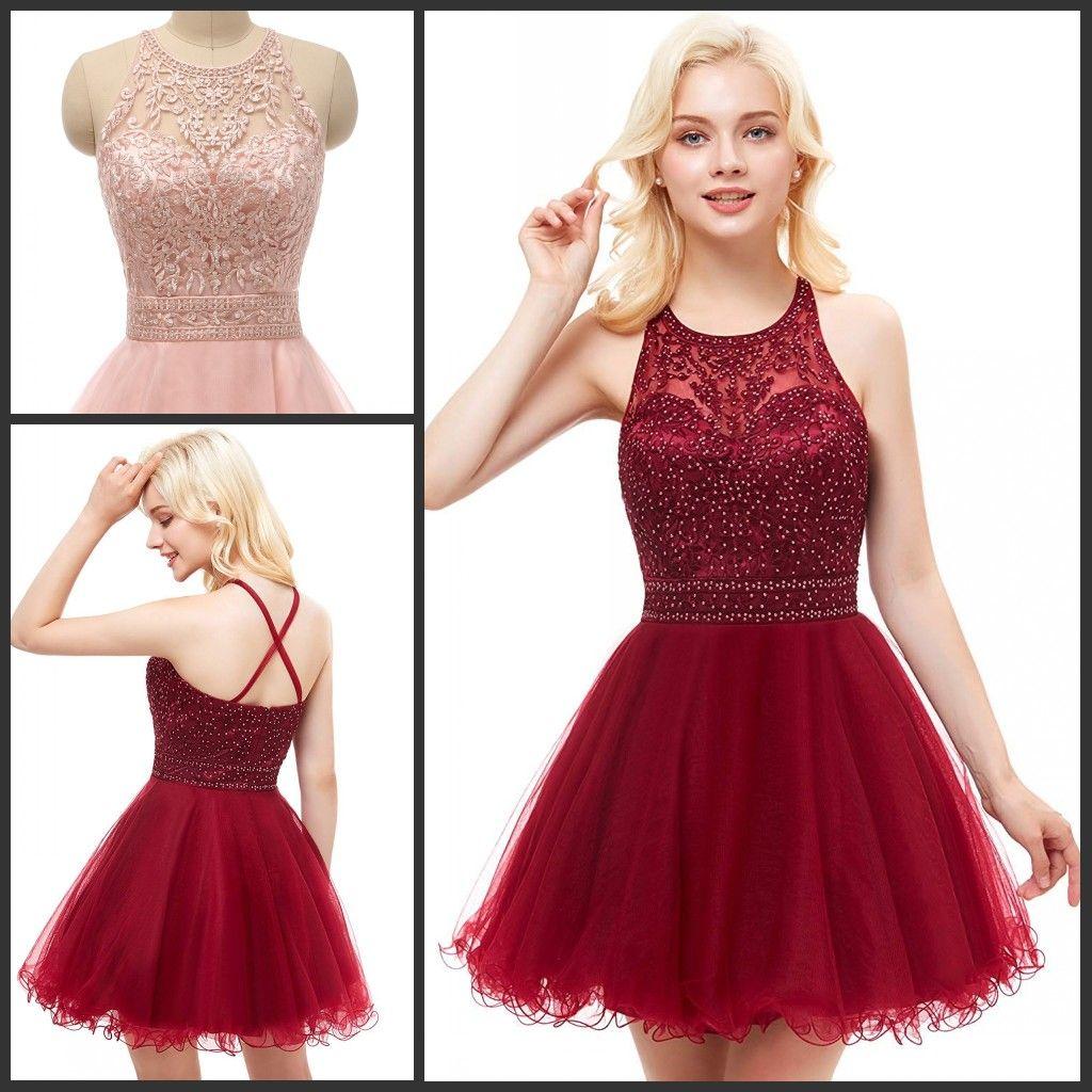 676bd4cf6 Compre Vestidos De Fiesta Cortos Para Jóvenes Apliques De Bordado Vestido  De Regreso A Casa De Tul Adolescentes Sin Respaldo Semi Formal Vestidos Para  ...
