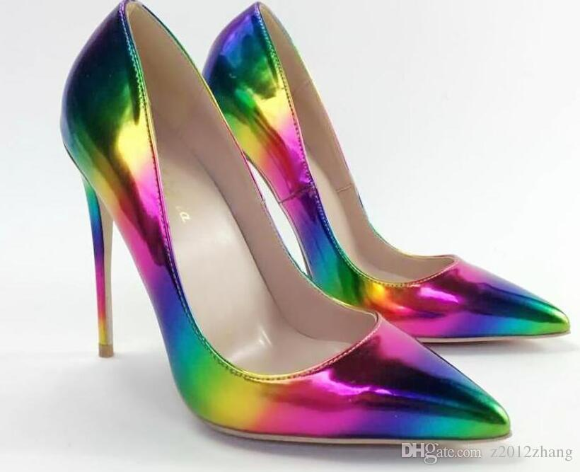 7a152da99c6d Sexy Rainbow High Heels Shoe,Luxury Brand Red Bottom Pointy Pumps,Womens  Red Sole Crystal Wedding Dress Shoes Heel 12 10 8cm Size 34 45 Canada 2019  From ...