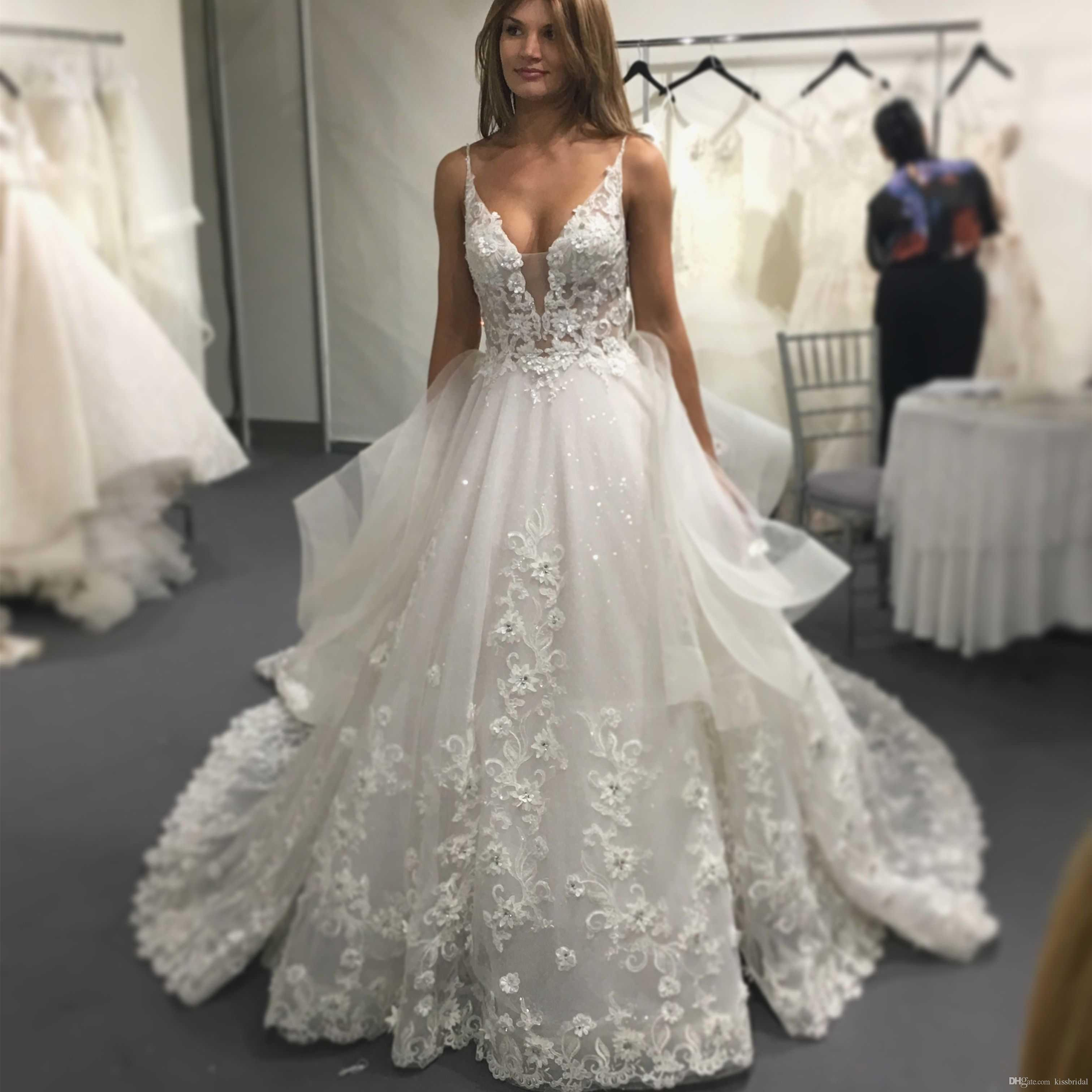 3a32c742cd64e Elegant Lace Wedding Dresses 2019 A Line Spaghetti V Neck Backless Bridal  Gowns Bead Lace Appliques Tulle Sheer Formal Gowns For Bride Gorgeous  Wedding ...
