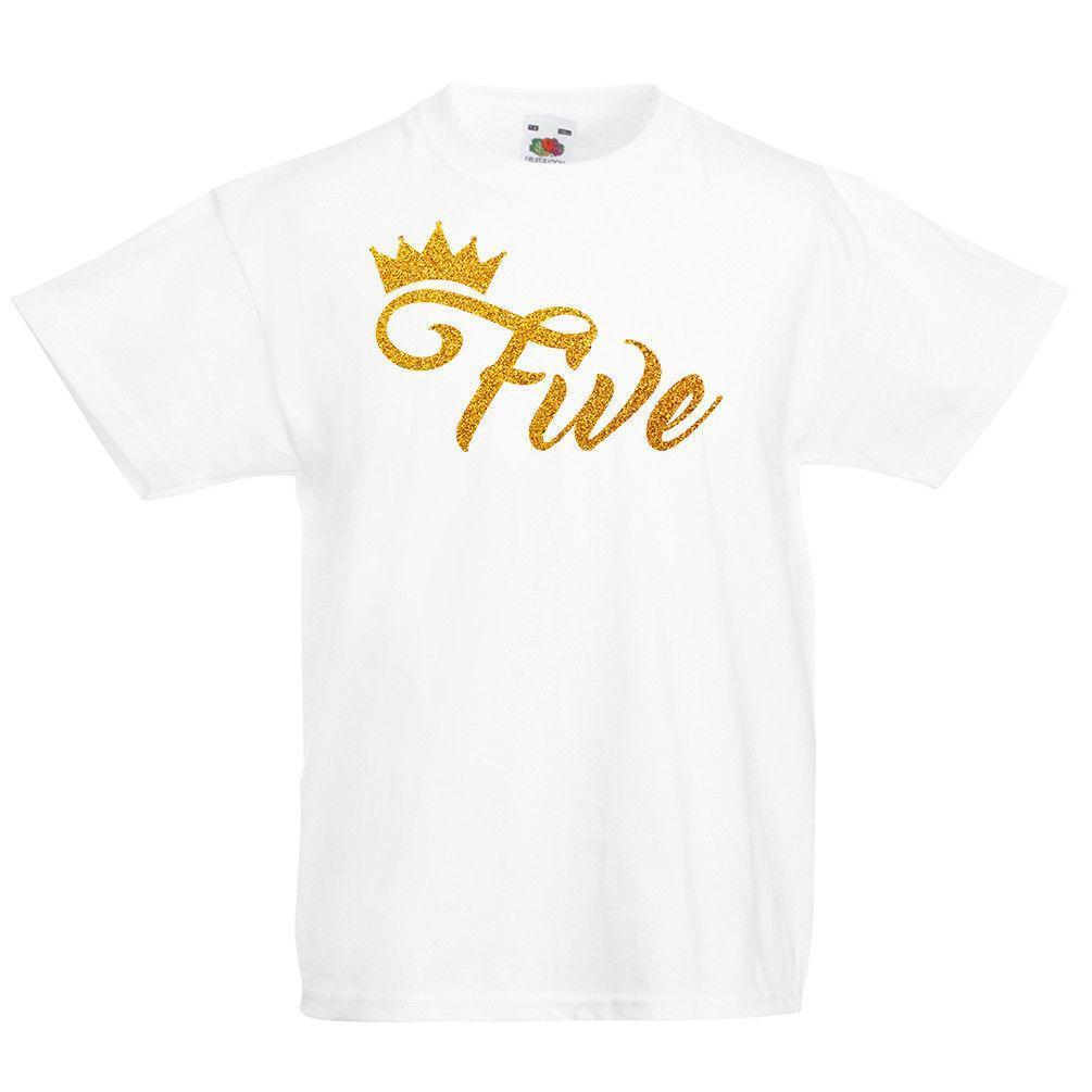 Kids Crown Five T Shirt Fifth 5th 5 Birthday Boys Girls Top Gift Glitter Cool Shirts Designs Make Online From Yuxin08 138