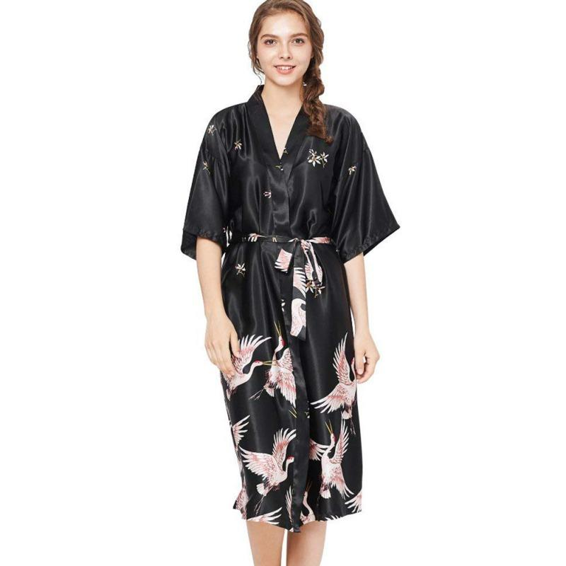 3a7e7484f8967f Großhandel Kimono Robe Bademantel Damen Satin Robe Silk Night Sexy Robes  Nightgown Von Yyliang, $26.12 Auf De.Dhgate.Com | Dhgate