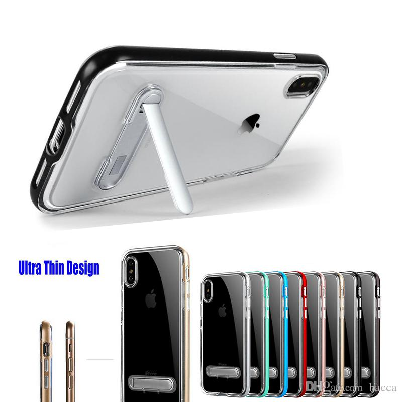 0ddc17513b For Iphone 7 Case Cover Slim Clear Crystal TPU Phone Case Clear Back Cover  + Adjustable Holder For Iphone X 7 7plus Discount Cell Phone Cases Free  Cell ...