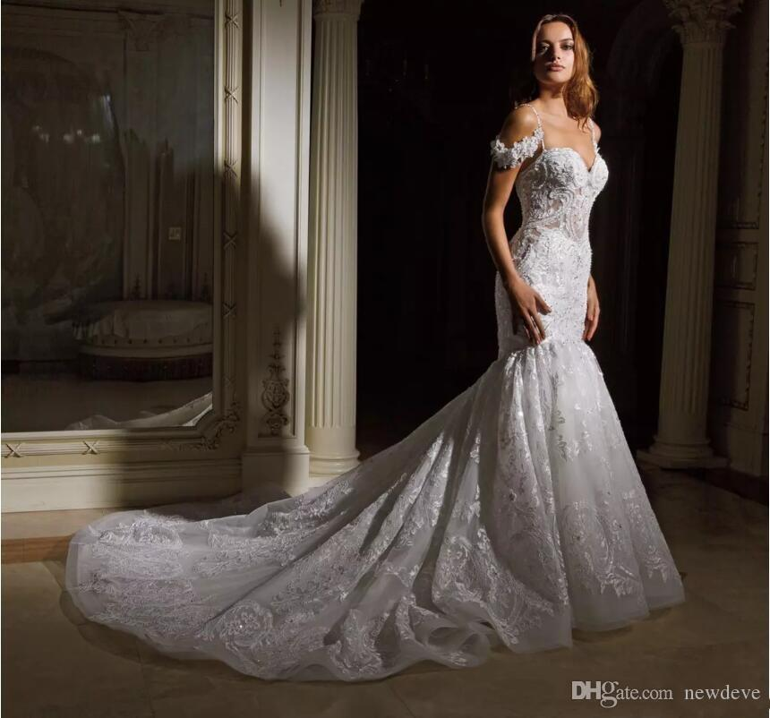 2c8c762c4124a Eve of Milady 2018 Lace Mermaid Wedding Dresses Sexy Backless Misses  Crystal Beaded Sweetheart Tiered Skirts Bridal Gowns