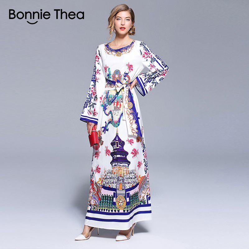 Acquista Bonnie Thea Donna Vintage Bianco Stampa Abito Lungo 2018 Estate  Caviglia Piena Lunghezza Maniche Lunghe Abito Da Sera Maxi Vestito A  46.03  Dal ... 580c9f9ea89