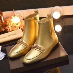 59f1575bbc45 GOLD LEATHER SUEDE FLAT SHOES CHAIN ANKLE BOOTS 34-40 Women Pumps Loafers  Ballerina Flats Espadrilles Wedges Sneakers Boots Booties