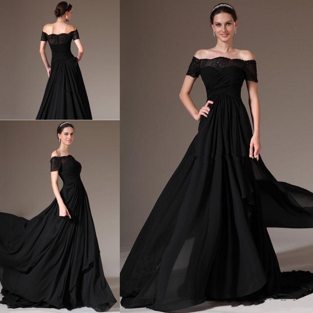 2018 New Elegant Black Off Shoulder A Line Evening Dresses Short ...