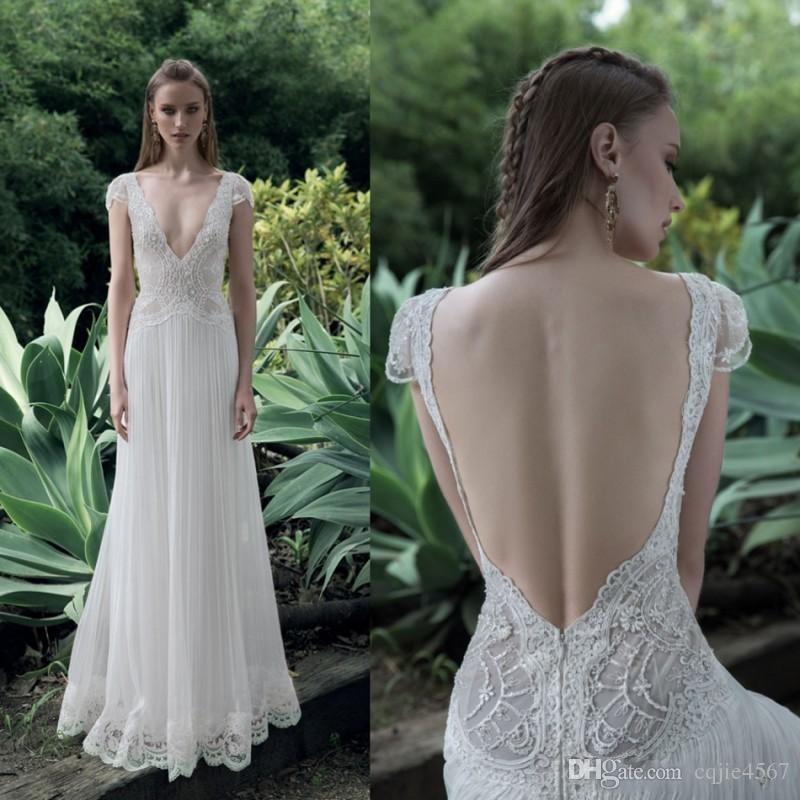 Cheap Lace 2018 New Wedding Dress Boho Deep V Neck Bridal Gowns