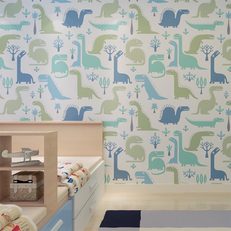 HANMERO High Quality Soundproof Wallpaper Cartoon Dinosaur Pattern ...