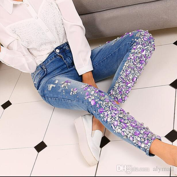 73f93836ca Womens Denim Rhinestones Crystal Skinny Pants Slim Fit Jean Pencil Trousers  Online with $63.48/Piece on Alymall's Store | DHgate.com
