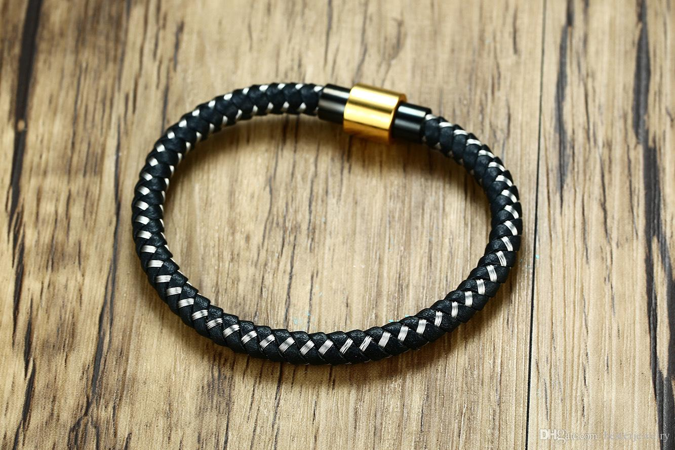 High Quality 6mm Men Women Black Braided Genuine Leather Mixed Stainless Steel Magnetic Bracelets Charm Jewlery
