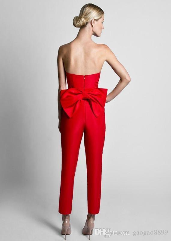 Krikor Jabotian Red Jumpsuits Formal Evening Dresses With Detachable Skirt Sweetheart Prom Dresses Party Wear Pants for Women Custom Made