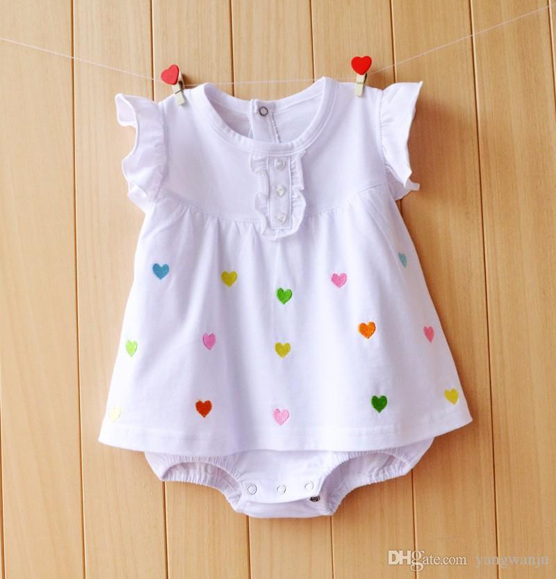 아기 소녀 Rompers 여름 100 % 코튼 유아 Jumpsuituits Roupas Bebes 다채로운 만화 신생아 공주 치마 유아 소녀 옷