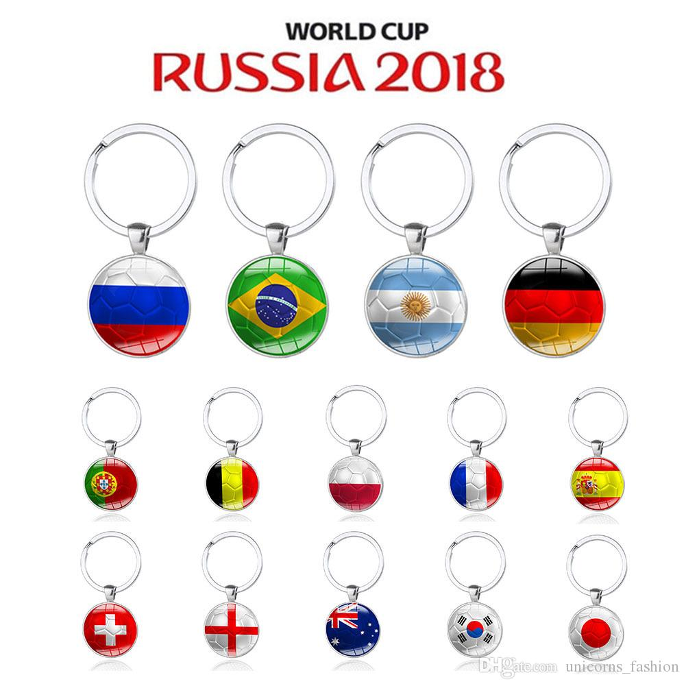2018 Russia World Cup Hot Football Keychains Metal Key Ring Strog 32 Country Soccer Key Chains Souvenir CNY235