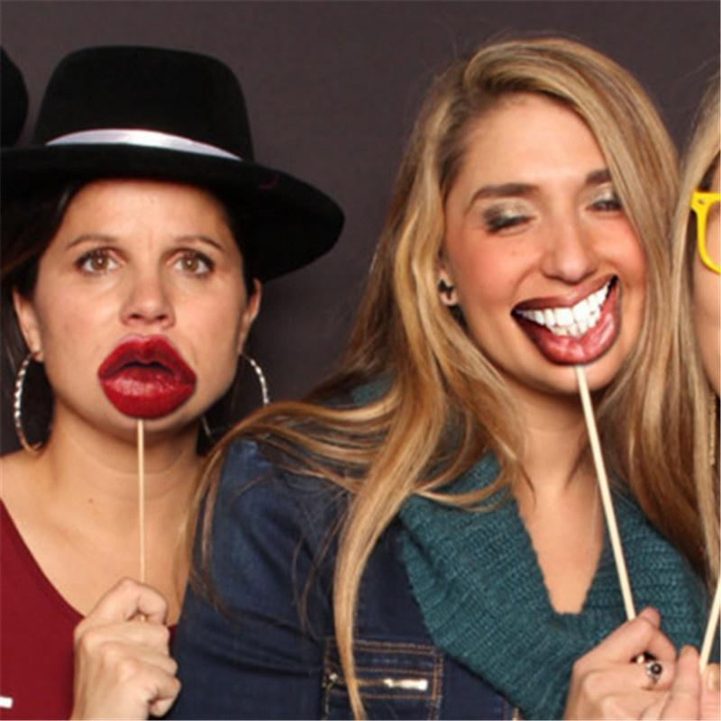 ZLJQ Funny Photo Booth Props Mouth Lip Photobooth Props Set Wedding Party Favors Hen night bachelorette party decoration