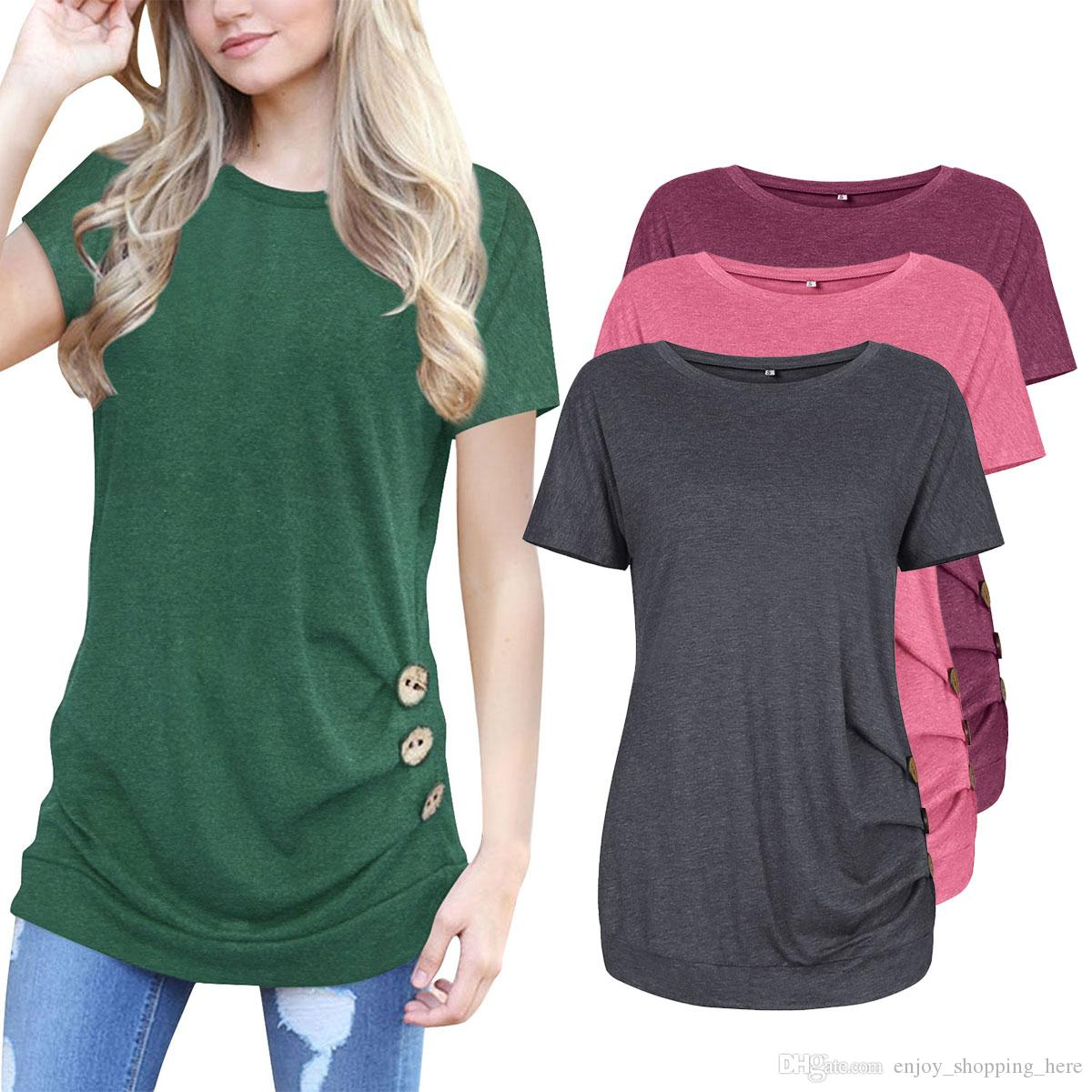 37d4bd9fd women T shirt short sleeve button decoration cotton solid slimming o neck  fold asymmetric Summer girls ladies fashion Tops big size 2XL