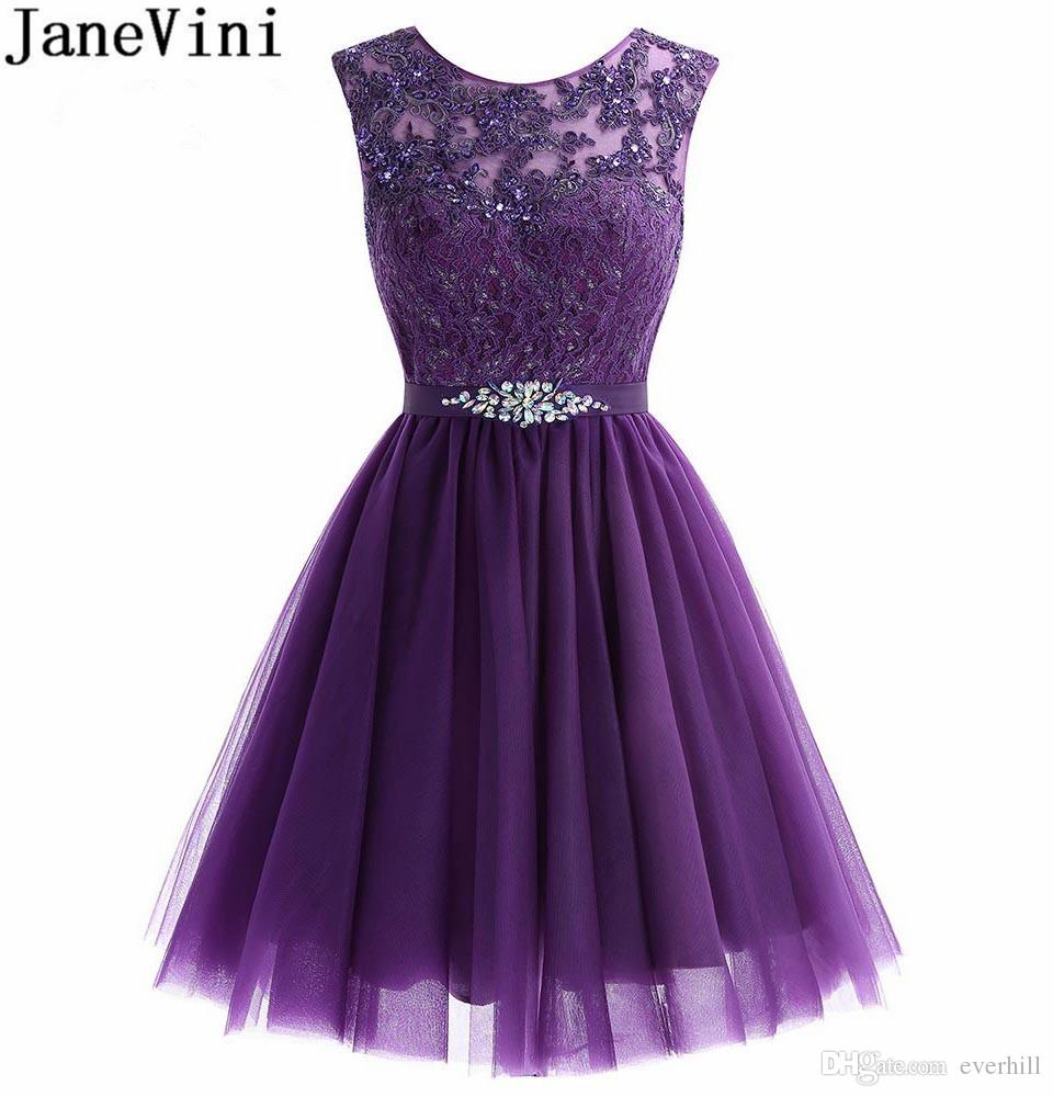 8f4edec8e78 JaneVini Lebanon Purple Homecoming Dresses Short Tulle Beaded Graduation Prom  Dress 2018 Lace Crystal Cocktail Party Wear White Ivory Shop Online Dresses  ...