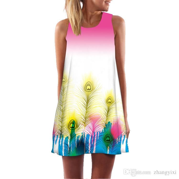 Toptan ücretsiz kargo Yaz Tarzı Kadın Kolsuz Vintage 3D Çiçek Transferi Baskı Rahat Gevşek Seksi Bir Çizgi Dashiki Boho Elbise