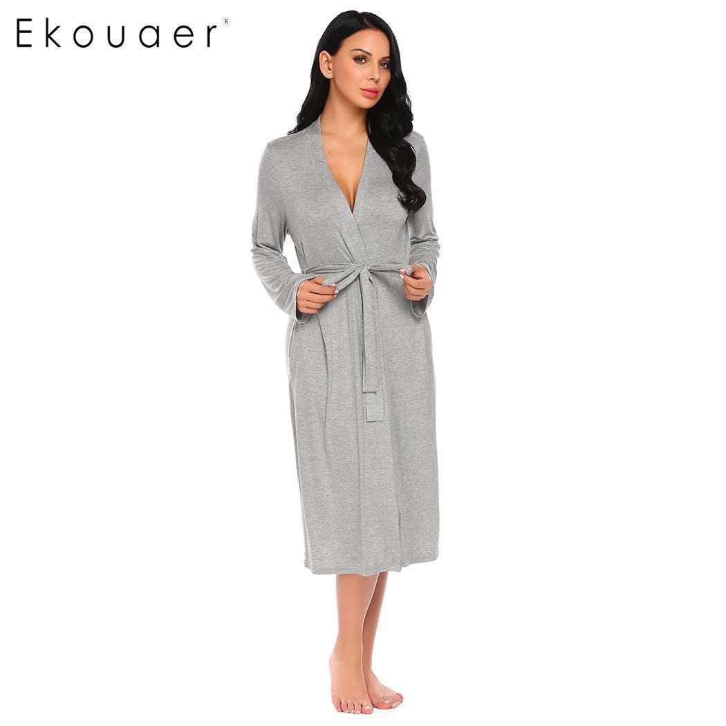 Ekouaer Long Women Robe Sleepwear Long Sleeve Solid Kimono Comfort Bathrobe  Spa Robes Night Sexy Dressing Gown Nightwear S XXL S1015 Cheap Womens  Pyjamas ... 9bdfca284