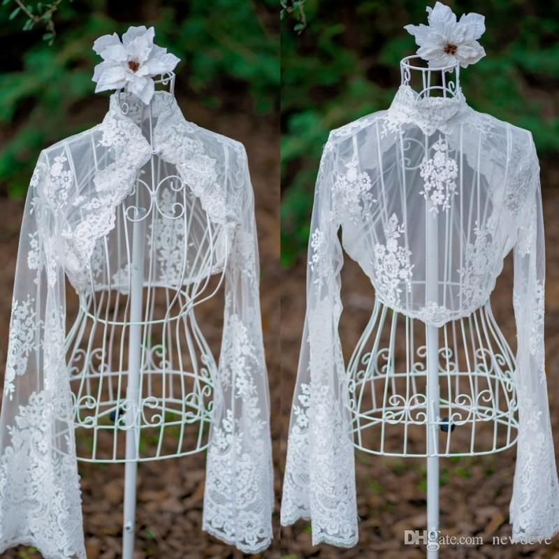 High Neck Lace Appliques Bridal Jacket Custom Made Women Wear With Long Sleeves Tulle Wedding Dresses Accessories