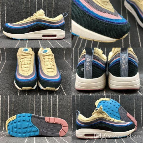 8f685a372a 2019 2018 Fashion 97 Sean Wotherspoon X Men Women Running Shoes Mens 97s 97  1 Vivid Sulfur Multi Yellow Blue Hybrid Sports Sneakers 36 44 From Rodgers,  ...