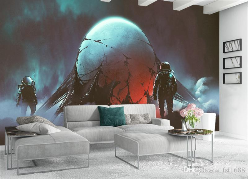 Customized 3D Anime Wallpaper Kids' Room Sofa Background Wall Mural Cartoon Extraterrestrial Space Robot Home Decoration