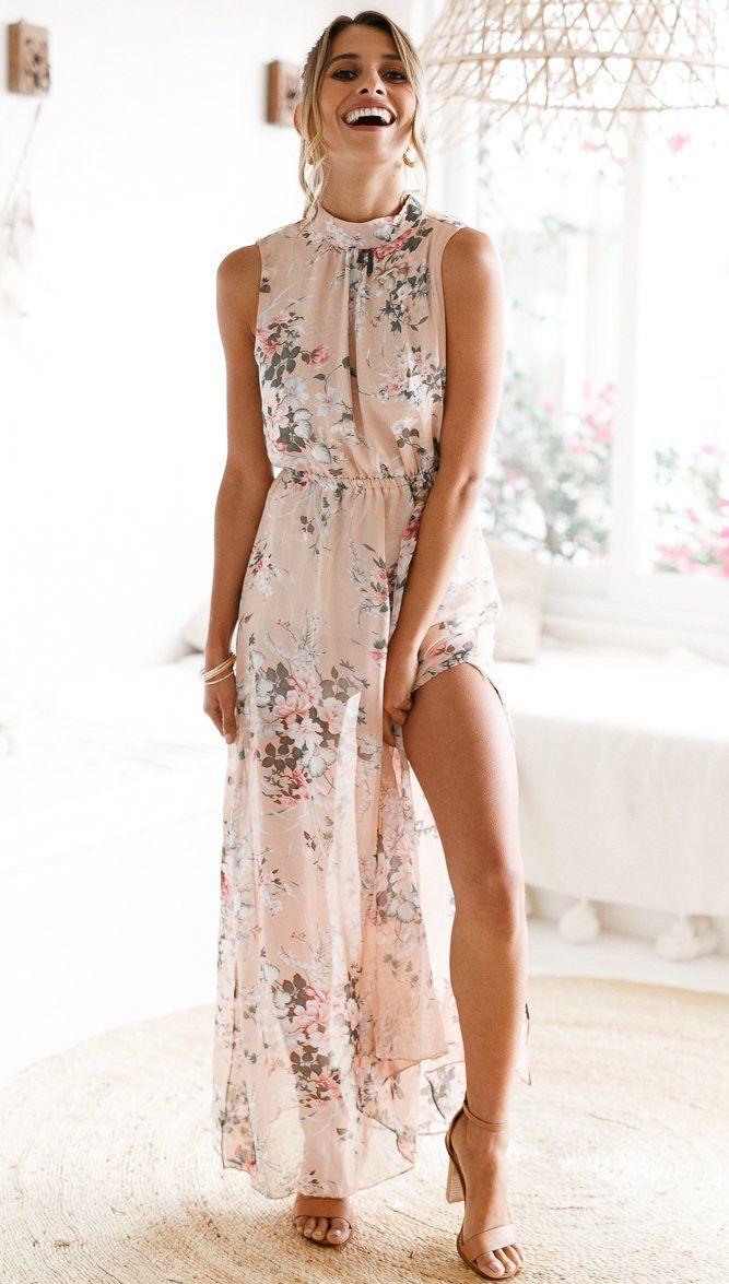b1c6ade954f47 Floral Print Halter Chiffon Long Dress Women Backless 2018 Maxi ...